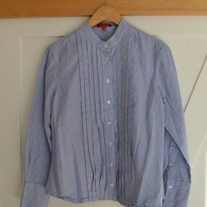 Beautiful blue and white lined blouse with a little something!